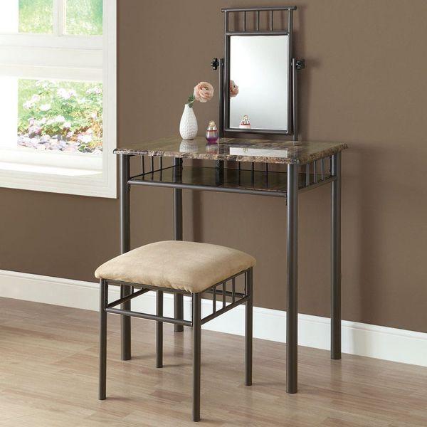 Monarch Specialties Bronze Metal and Cappuccino Marble Vanity Set, 2-Piece
