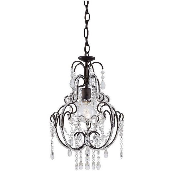 Minka Lavery 1-Light Bronze Mini Crystal Chandelier