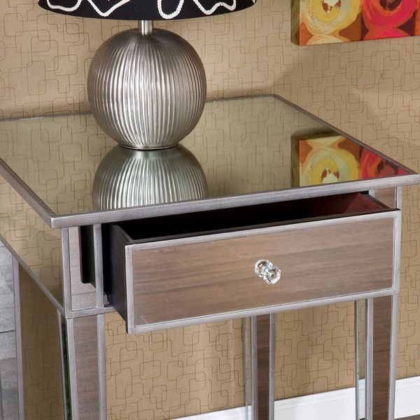 SEI Mirage Mirrored Nightstand