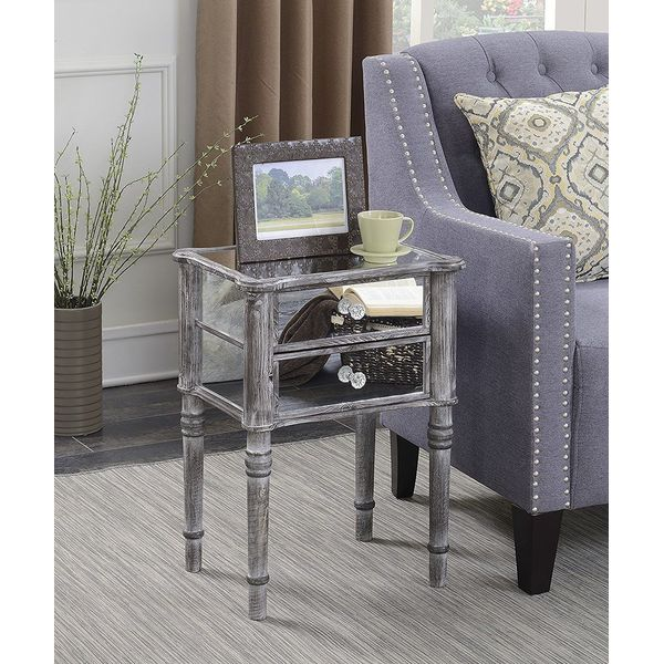 Convenience Concepts Gold Coast Collection Mirrored Nightstand, Black