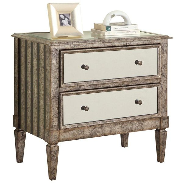 Powell Antique Silver and Black Crackle 2-Drawer Mirrored Nightstand