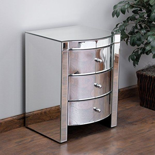 Great Deal Furniture Jacinda Mirrored Accent 3-Drawer Nightstand