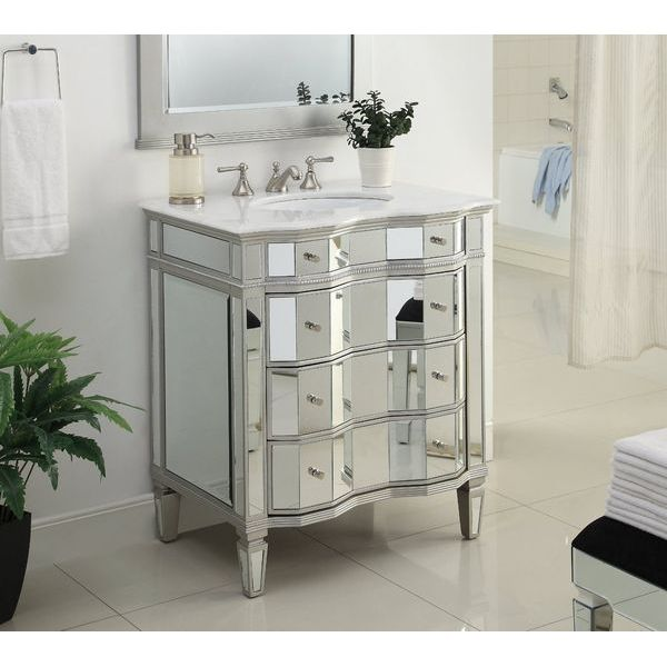 30-inch Mirrored Bathroom Sink Vanity Cabinet