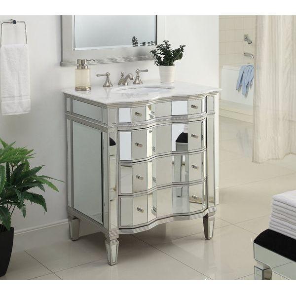 30-inch Mirrored Bathroom Sink Vanity Cabinet