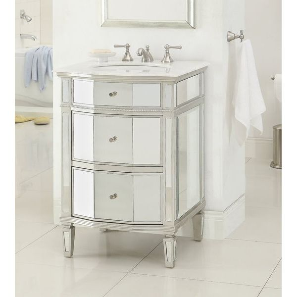 24-inch Petite Mirrored Bathroom Sink Vanity