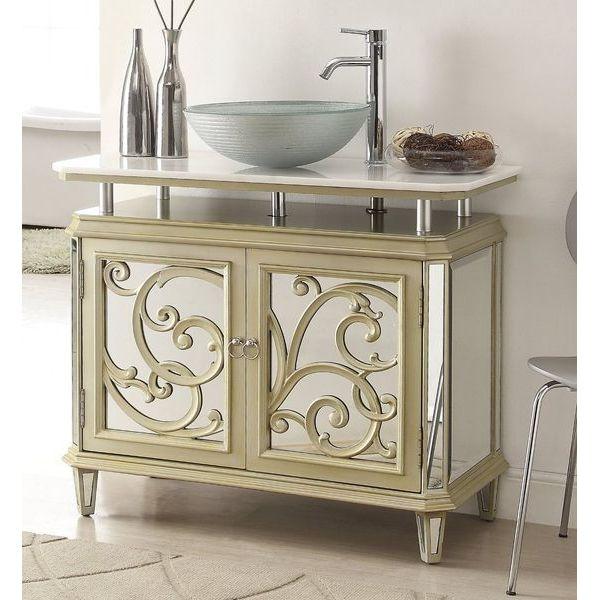 38.5-inch Champagne Gold Color Mirrored Idella Vessel Sink Vanity