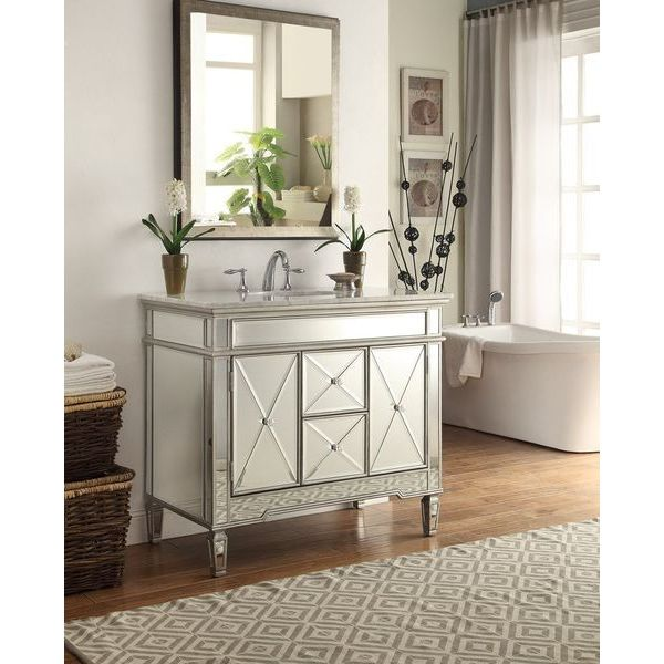 40-inch Mirrored Adelia Bathroom Sink Vanity