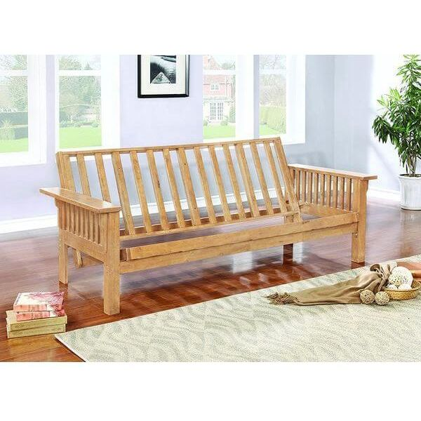 All Wood Futon in Mission Style Oak Finish Sofa Bed