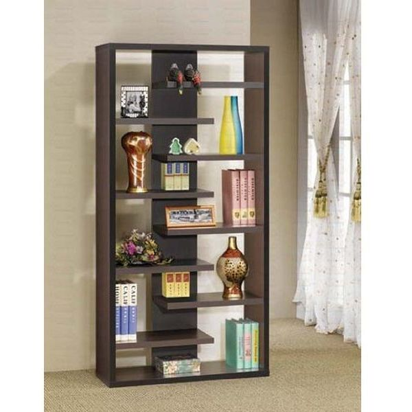 Display Bookcase Contemporary Style in Cappuccino Finish