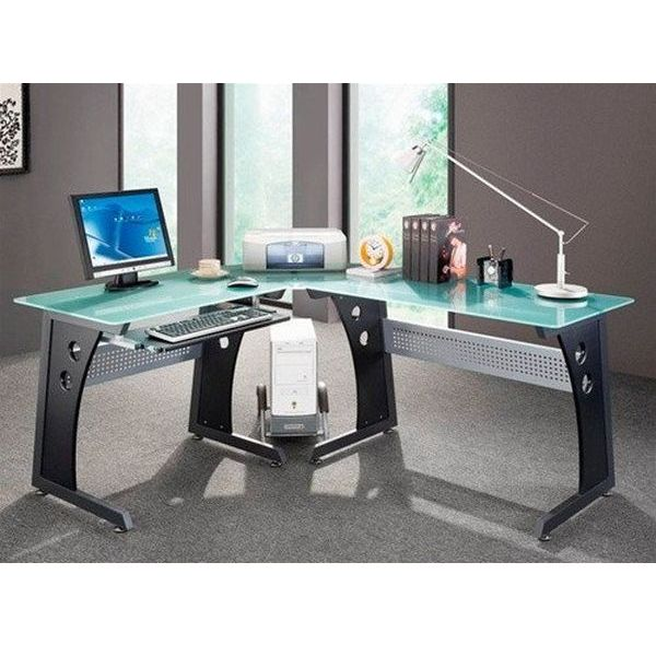 Graphite and Frosted Glass Modern Desk