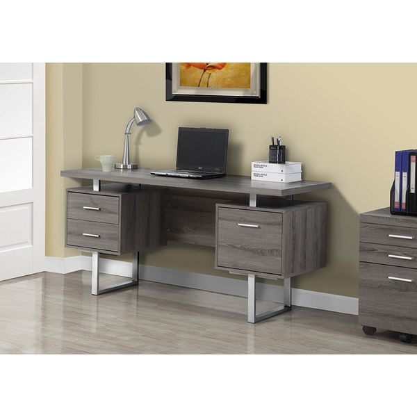 Monarch Specialties Dark Taupe Modern Desk, 60-Inch