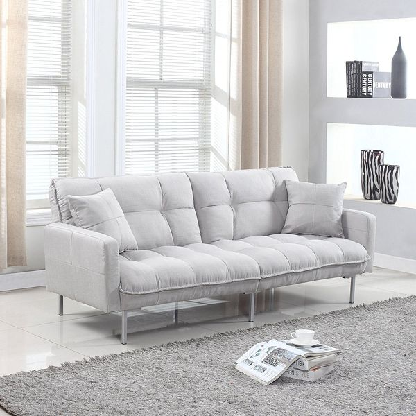Divano Roma Furniture Collection Modern Tufted Futon, Light Grey