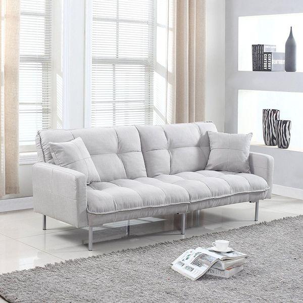 Divano Roma Furniture Collection Modern Tufted Futon, Light Grey
