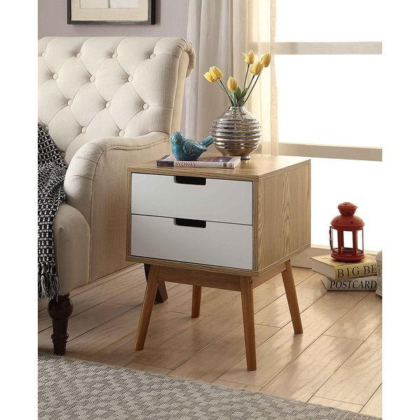 eHomeProducts Oak Finish Modern Nighstand