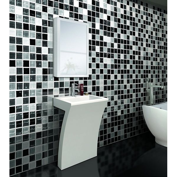 DreamLine Wall-Mounted Modern Bathroom Vanity with Porcelain Counter and Medicine Cabinet