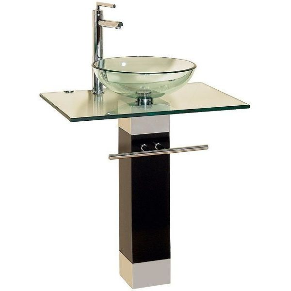 23-Inch Modern Tempered Glass Bathroom Vanity