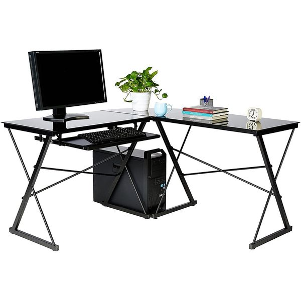 AmazonBasics Three Piece Glass Desk, Black with Black Glass