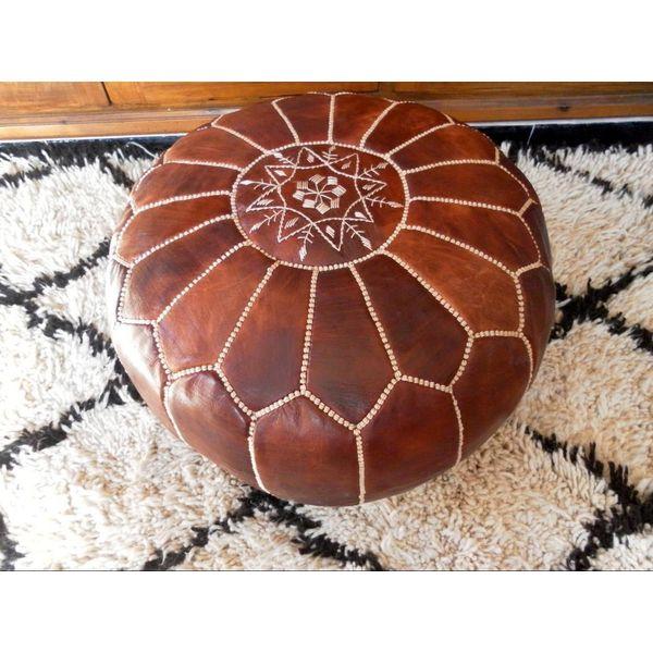 Moroccan House Premium Handmade Dark Brown Moroccan Ottoman