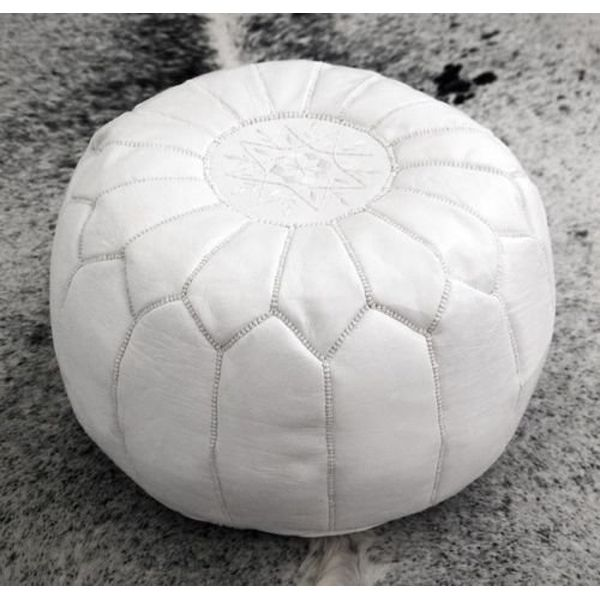 Moroccan House Premium Handmade White Leather Moroccan Ottoman