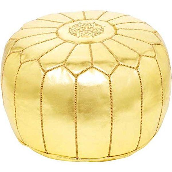moroccanmasterpiece Shiny Gold Moroccan Ottoman