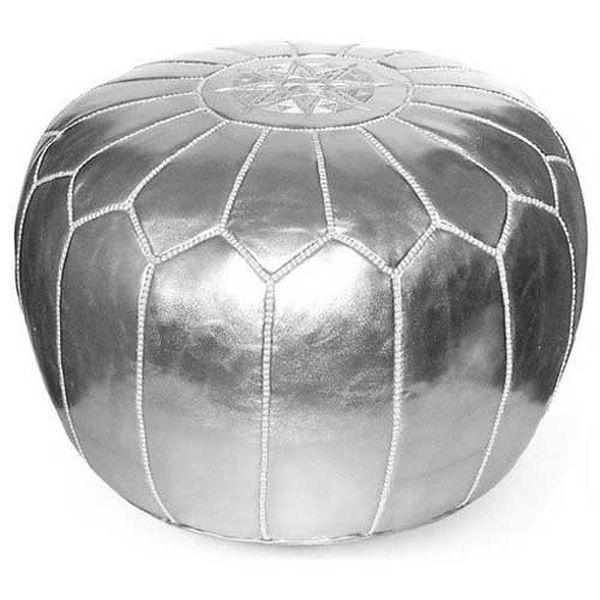 moroccanmasterpiece Shiny Silver Moroccan Ottoman