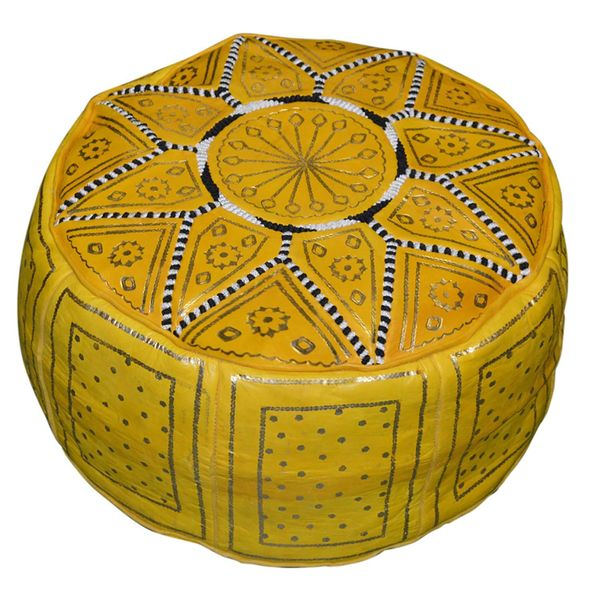 Moroccan Poofs Yellow Leather Moroccan Ottoman