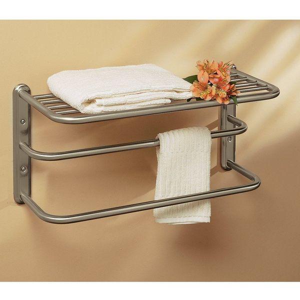 Gatco 10-Inch by 20-Inch Satin Nickel Towel Rack