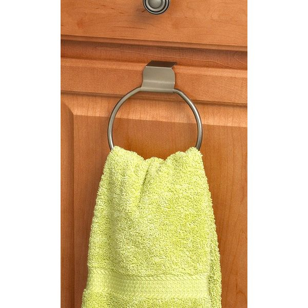 Spectrum Over The Door Drawer/Cabinet Towel Ring, Brushed Nickel