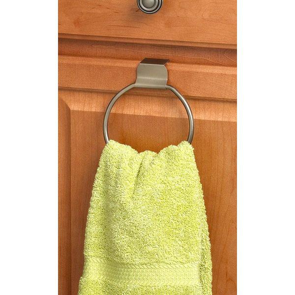 Spectrum Over The Door Drawer/Cabinet Towel Ring, Brushed Nickel