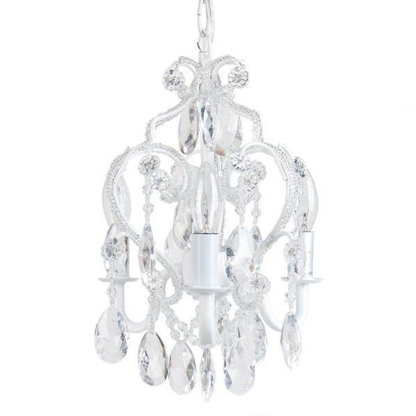 Tadpoles Three Bulb White Diamond Nursery Chandelier