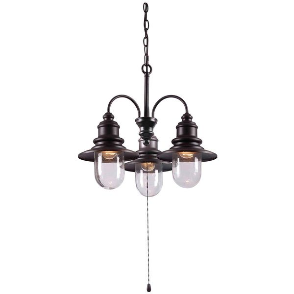 Kenroy Home Broadcast 3-Light Outdoor Chandelier, Blackened Oil Rubbed Bronze