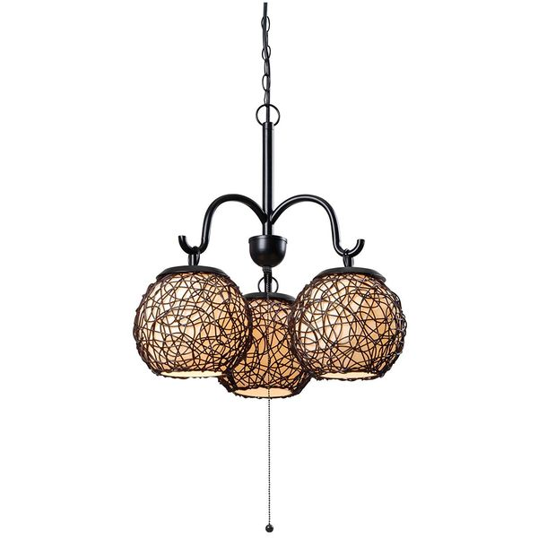 Kenroy Home Castillo 3-Light Outdoor Chandelier, Blackened Bronze Finish