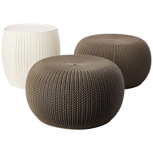 Keter 3 Piece Compact Table & 2 Seating Ottomans Set