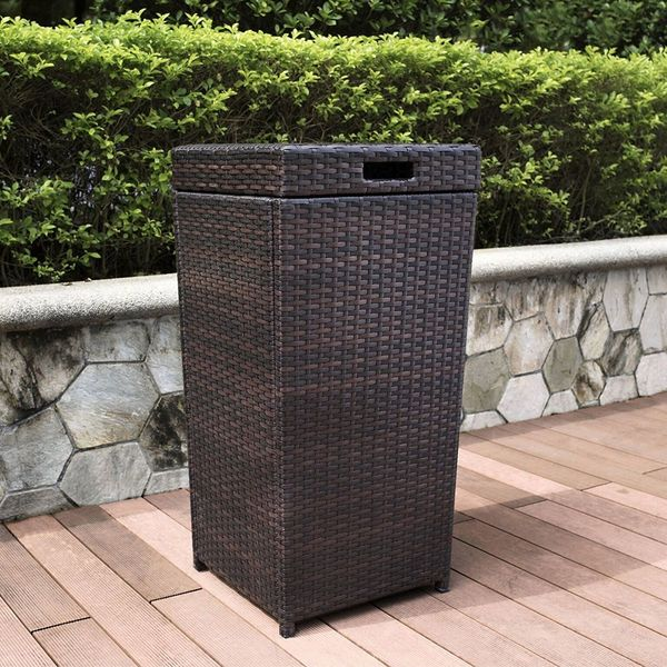 Crosley Palm Harbor Wicker Outdoor Trash Can