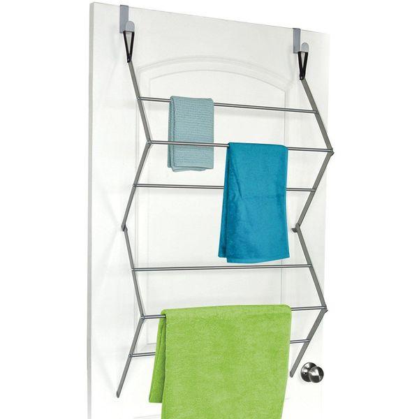 HOMZ Over the Door Towel Rack, Silver