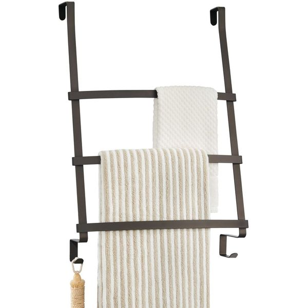 mDesign Over the Door Towel Rack, Bronze