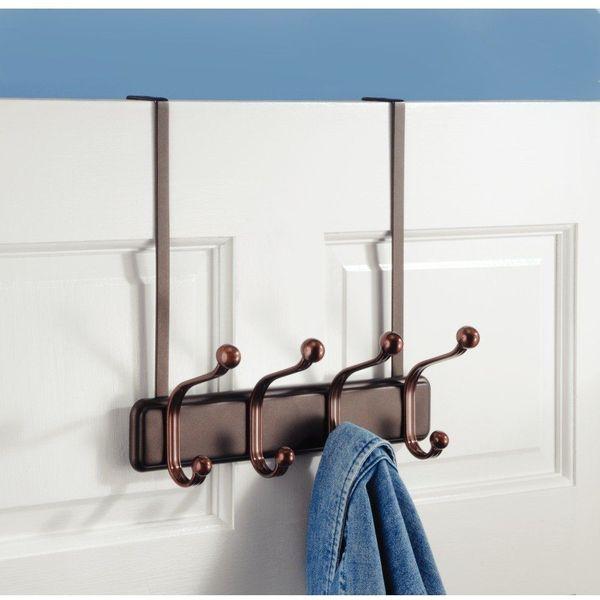 InterDesign York Lyra Bronze Over The Door Rack with 4-Hooks