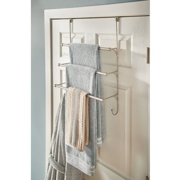Franklin Brass Over the Door Triple Towel Rack with Hooks, Flat Nickel