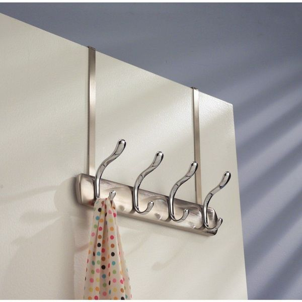 InterDesign Bruschia Brushed Chrome Over-the-Door Rack