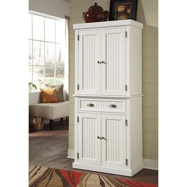 Home Styles Nantucket Pantry, Distressed White Finish