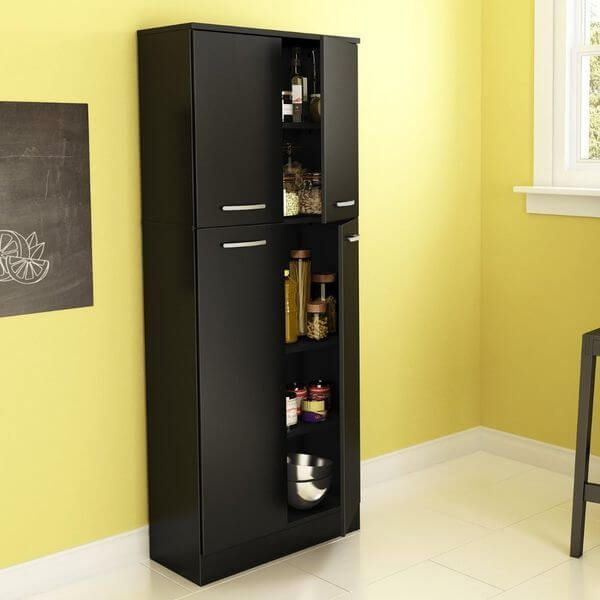 South Shore Fiesta Storage Pantry, Pure Black