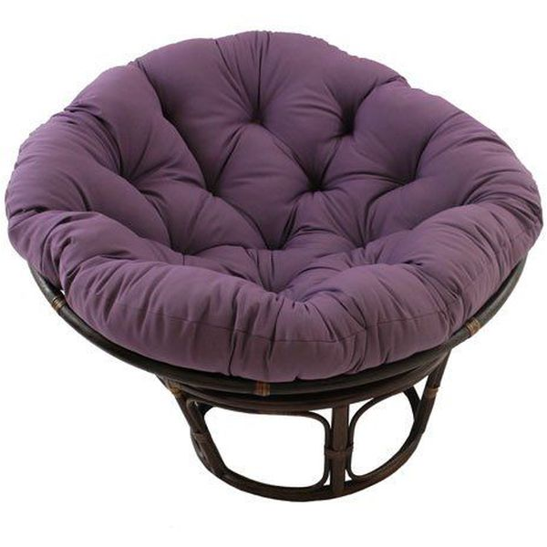 International Caravan 42-Inch Rattan Papasan Chair with Solid Twill Cushion, Grape