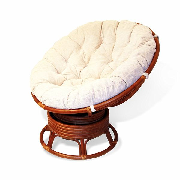 Rattan Wicker Swivel Papasan Chair with Cushion