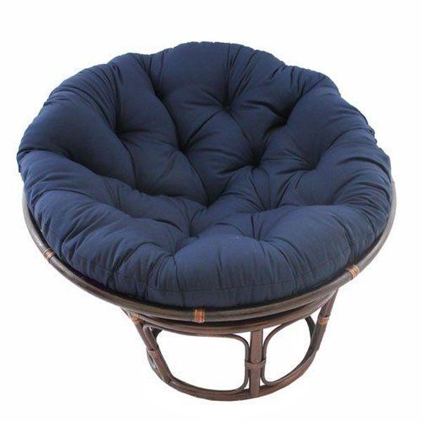 International Caravan 42-inch Rattan Papasan Chair with Solid Twill Cushion, Navy