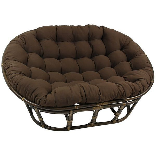 Rattan Double Papasan Chair with Micro Suede Cushion