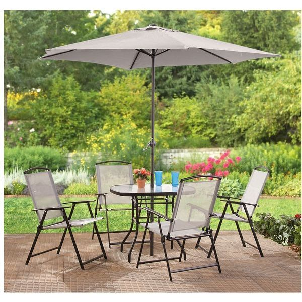 CastlecreekComplete Patio Set - Patio Table, 4 Chairs and Umbrella