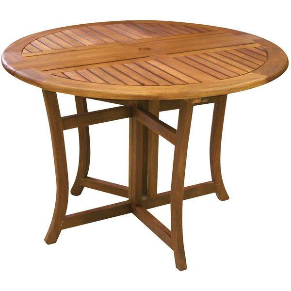 Eucalyptus 43-Inch Round Folding Deck Table