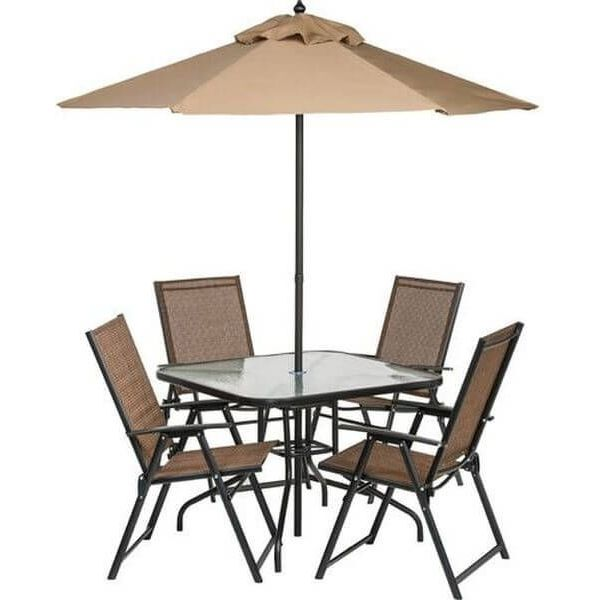 6 Piece Outdoor Folding Patio Set - Table, 4 Chairs, Umbrella and Built-In Base