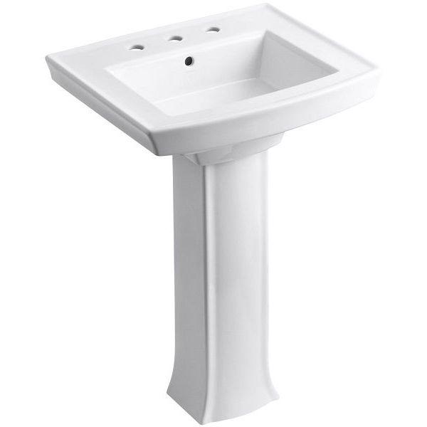 KOHLER Archer Pedestal Bathroom Sink with 8-Inch Centers, White