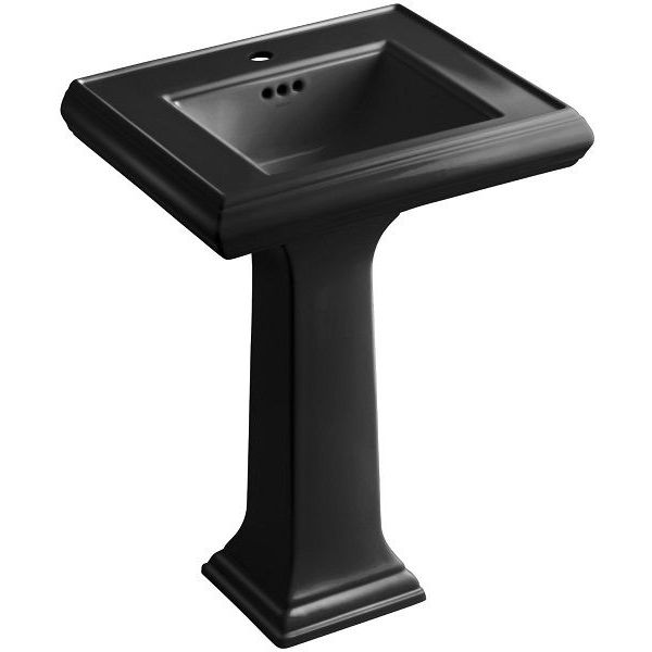 KOHLER Memoirs Pedestal Bathroom Sink with Single-Hole Faucet, Black